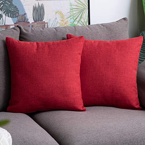 Anickal Christmas Red Pillow Covers 18x18 inch for Christmas Decor Set of 2 Farmhouse Rustic Xmas Decorative Throw Pillow Covers Square Cushion Case for Sofa Couch Home Decoration