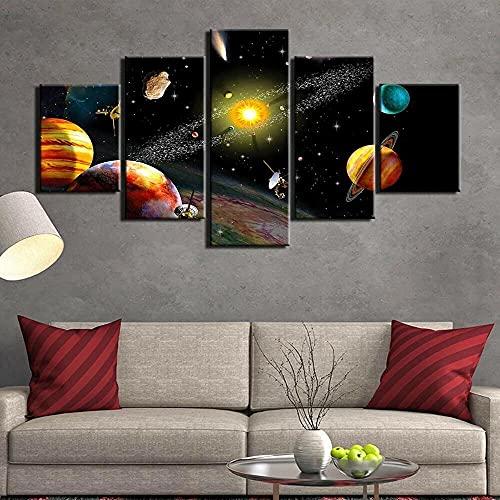 QQWERSalon Modernos 5 Piezas Cuadros Lienzo Decoracion De Pared Modernos Mural Fotos Parasalon,Dormitorio,Baño,Comedor Explore Los Planetas del Cartel del Espacio del Universo