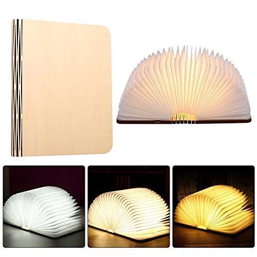 Gobesty Hölzerne faltende Buch-Lampe, 3 Farbmodi Buchlampe Mini Faltende Buch-Lampe Magnetisches LED-Licht mit Akku 500 Milliamperestunden, hell genug für das Ablesen, Ideal für Geschenk.