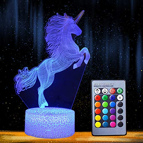 Night Light 3D Unicorn Lamp 16 Colors Changing LED Desk Table Nightlight with Remote Control Optical Illusion Kids Girls Boys Home Decor Party Crackle White Base (Unicorn-2)