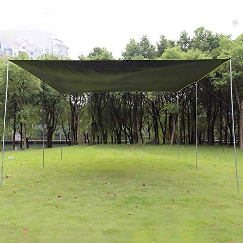 Camping Tarp 10*10, Portable Canopy Sunshade, Waterproof Beach Sun Shelter, Outdoor Canopy Tent, 50+ UV Protection, Fishing Shade Tent Tarp, 6 Poles Included ( Color : Green , Size : 3×3m/10×10ft )