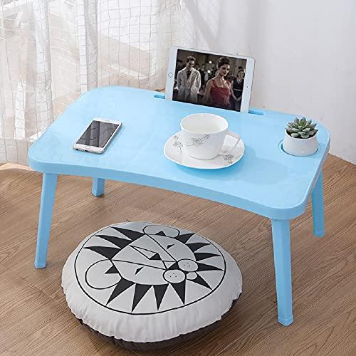 MINI Boutique Escritorio junto a la cama. Escritorio de plástico. Mesa con patas plegables. Mesa para ordenador portátil. Puede dibujar. Escritorio para niños azul