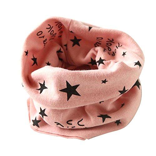 Kinder Loop Schlauchschal FORH Warm weich Baumwolle Schal Unisex Junge Mädchen Sterne muster mode Schal Winter Basic Halstuch ultraleichte Rundschal viele Bunte Farben (Rosa 40 * 37cm)