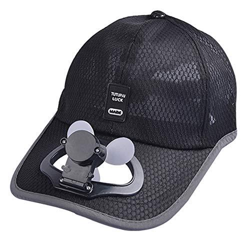 Unisex USB Charging Belt Fan Baseball Golf Hat Storage Belt Switch Fan Cap Sun hat Peaked Cap/Panel on The Cap Front Hat(Black)