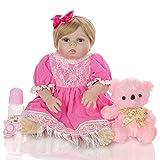 yunyu Juguetes 23'Hecho a Mano Realista Reborn Baby Doll Vinilo de Silicona Suave Maniquí para niños pequeños Traje de Encaje Rosa Chupete magnético/Oso Rosa/Cumpleaños Infantil Rega