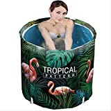 dingwen Bathtub Folding Adult Baby Child Portable Non Inflatable Bath Tub Comfortable Household Tub Shower Tray Tropical Jungle Flamingo