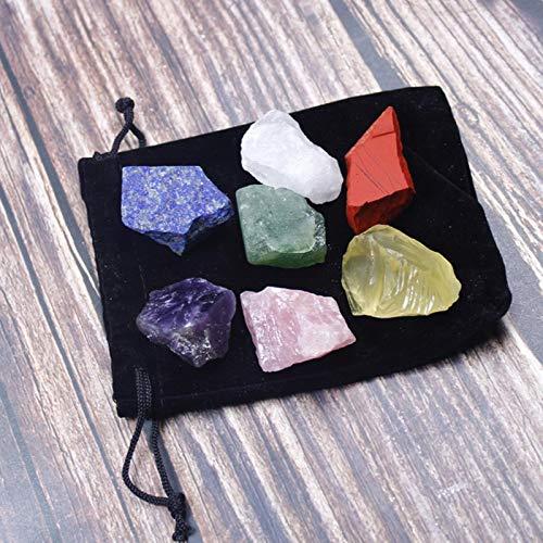 1 Juego de Piedra de Cristal Natural Siete Chakras Bolsa de Tela Negra Gran Grano sin pulir Colección de Regalo