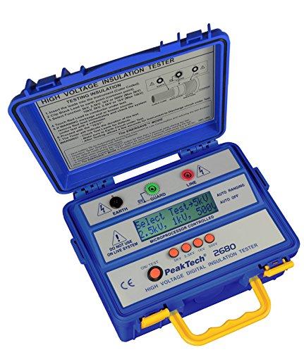 PeakTech 2680 – Digitales Isolationsmessgerät mit autom. Bereichswahl, Professionelles Messgerät, Messungen nach VDE 0413, DC-Prüfspannung 500V/1000V/2500V/5000V, Überspannungsschutz, Schutzschaltung