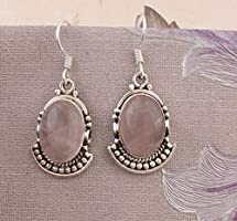 Pendientes de plata de ley para navidad, pendientes de gota, pendientes de cuarzo rosa ovalados, pendientes colgantes...