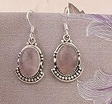 Orecchini in argento sterling per Natale, orecchini pendenti, orecchini ovali in quarzo rosa, orecchini pendenti, Silver Earrings for Womens Gift
