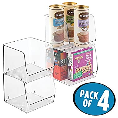 mDesign Stacking Organizer Bins for Kitchen, Pantry - Pack of 4, Large, Clear