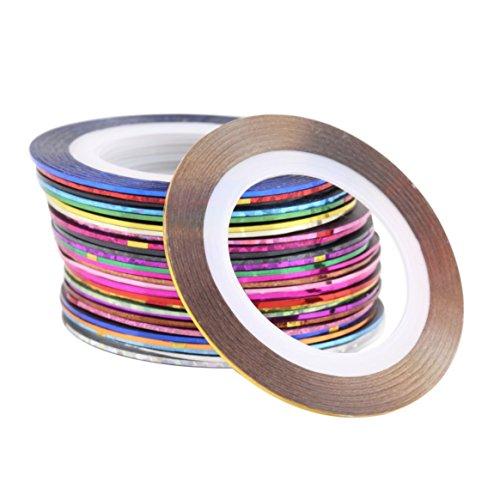 30 Pcs 30 Couleurs Rolls Striping Tape Ligne Nail Art Décoration Autocollant Conseils BRICOLAGE Nail Outil Pour Les Filles Dames