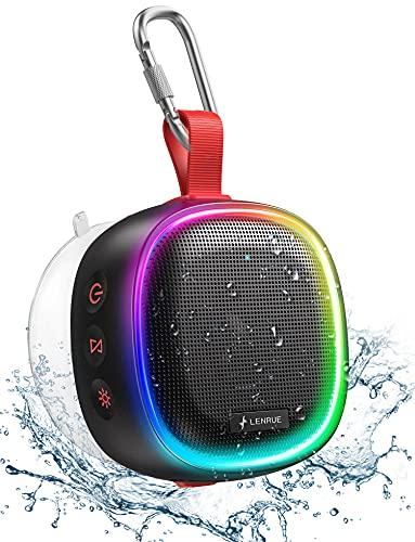 Altavoz Bluetooth Portátiles con Luces RGB, LENRUE IPX7 Altavoz de Ducha Impermeable con Sonido HD, Estéreo TWS, Tipo-C, Reproducción de 20H, Ventosa, Altavoces Inalámbrico Exterior para Fiesta, Viaje