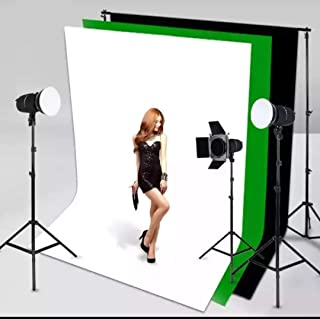 8×12ft. Photography Studio Non-Woven Backdrop Background Screen Combo 3-Colors for Option Black White Green