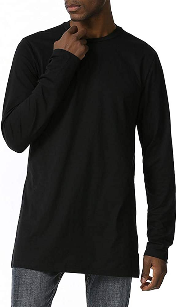 AILMY Mens Vintage Shirts Loose Henley Casual Round Neck Long Sleeve Irregular Hem Solid Top