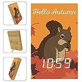 Yoliveya, orologio da tavolo a LED da comodino Hello Autumn scoiattolo foglie d'acero decorativo digitale sveglia con calendario temperatura USB alimentato a batteria