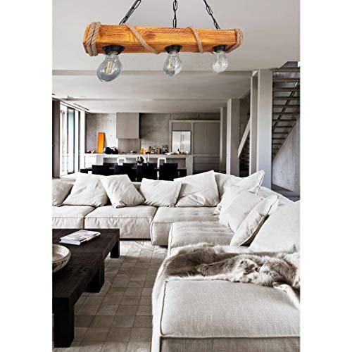 Solenzo - Lampadario a sospensione in legno e corda stile industriale, rustico, da campagna, chic, con 3 lampadine (E27)