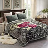 JML Fleece Blanket, Plush Blanket King Size 85' x 93', 10 Pounds Heavy Korean Style Mink Blanket - Silky Soft and Warm, 2 Ply A&B Printed Raschel Bed Blanket, Grey Red Floral