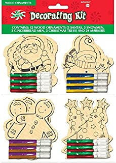 amscan Color-Your-Own Christmas Wooden Ornament Kit, 12 Ct.