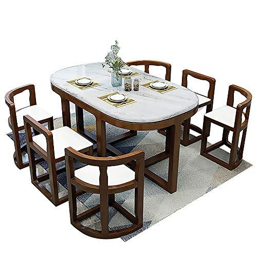 Esstisch, Marmor Esstisch und Stuhl Set 7-teiliger Küchenmöbel Tisch + 6 Stück Stuhl 130x80x75cm,Walnut