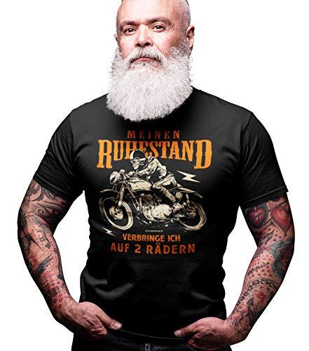 Biker T-Shirt für ältere Motorradfahrer - Meinen Ruhestand verbringe ich auf Zwei Rädern L Nr.6338