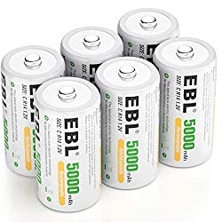 top rated Rechargeable 5000mAh EBL C Battery Ready2Charge Size C Battery, with Storage Box, Pack of 6 2021