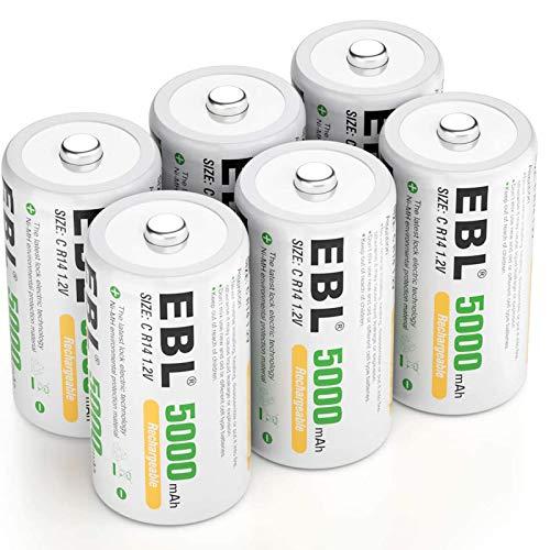 EBL Rechargeable C Batteries 5000mAh Ready2Charge C Size Battery