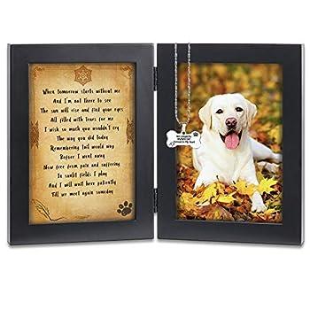 KCRasan Pet Memorial Picture Frame - Solid Wood Dog Picture Frame and Dog Memorial Gifts - Pet Loss Gifts Dog Rememberance Frame Dog Frame Keepsake with Tomorrow Start Without Me Poem  Black