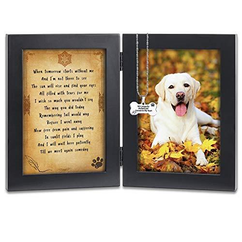 KCRasan Pet Memorial Picture Frame - Solid Wood Dog Picture Frame and Dog Memorial Gifts - Pet Loss Gifts Dog Rememberance Frame Dog Frame Keepsake with Tomorrow Start Without Me Poem (Black)