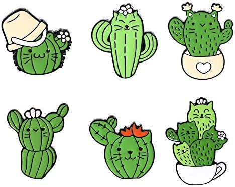 ROFARSO 6Pieces Pin Sets with Cactus Enamel Brooch Pins Cartoon Tropical Plant Lapel Pins Accessory for Backpacks Badges Hats Bags for Women Girls Kids Gift