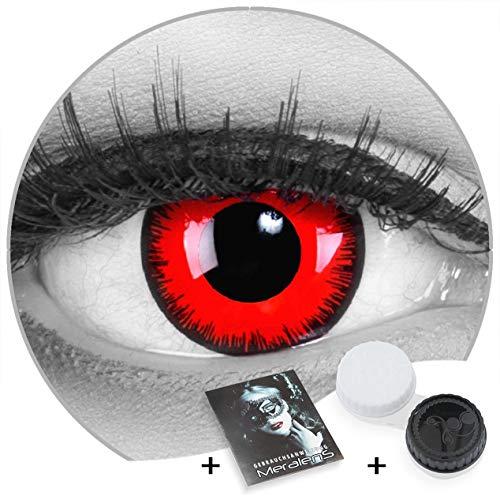 Meralens Farbige rote Vampir Volturi Kontaktlinsen Color Fun Contact Lenses Red Lunatic Topqualität zu Fasching, Karneval und Halloween gratis Linsenbehälter ohne Stärke