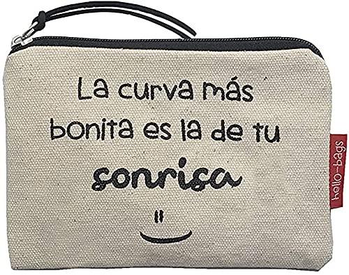 Hello-Bags Bolso Monedero/Billetero/Tarjetero. Algodón 100%. Blanco. con Cremallera y Forro Interior. 14 * 10 cm. Incluye sobre Kraft de Regalo.