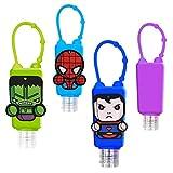 Set Bottiglie Ricaricabili per Bambini, in plastica, con custodia in silicone, 30 ml (Superheroes)