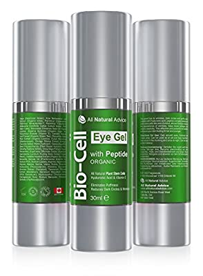 Bio Cell Eye Cream Gel 30 ml - Canadian Made - Certified Organic + Peptide + Hyaluronic Acid + Plant Stem Cells to Remove Circles and Puffiness while Boosts Collagen Anti-Aging Skin Care All Natural