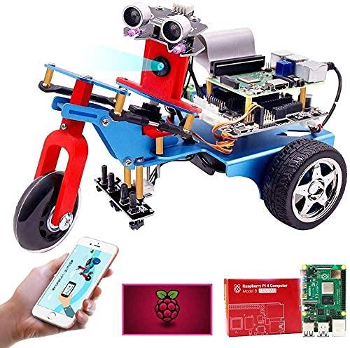 Smart Car Kit für Raspberry Pi 4B (8 GB), programmierbares 4WD-Dreirad-Roboterkit mit 5G-WLAN-Echtzeitübertragung, 4.0 Bluetooth-Modul, mechanische DIY-Bausteine, Spielzeug für die intellektuelle Entw