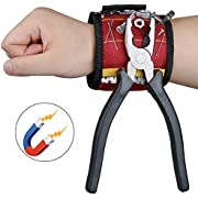 Magnetic Wristband MYCARBON 10 Powerful Magnets Wrapped Around the 1680D Waterproof Oxford Fabric Magnetic Wristbands for Holding tools screws, Nails, Bolts, Drilling Bits (Red Magnetic Wristband)