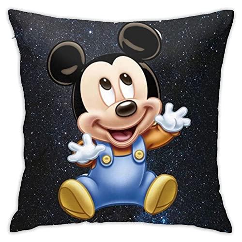 RVEVHGAHHA Funda de almohada de anime con diseño de Mickey Minnie Mouse, súper suave, cuadrada, ligera, para decoración del hogar con cremallera invisible, 45,7 x 45,7 cm.