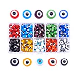 PH PandaHall 200pcs 10 Color 8mm Evil Eye Lampwork Beads Handmade Round Spacer Beads Charms fit Halloween Bracelets Necklace Jewelry Making