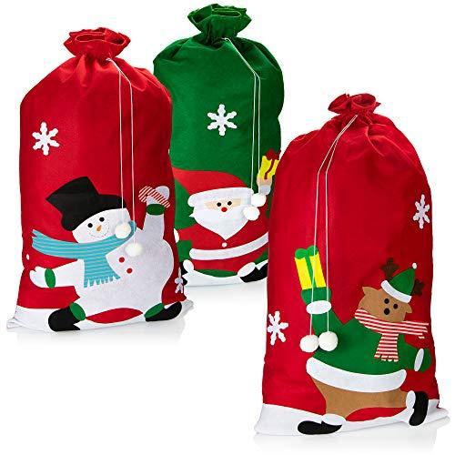 com-four® 3X XXL Geschenksack für Weihnachten mit weihnachtlichen Motiven - Nikolausbeutel zum Befüllen - Weihnachtssack für Weihnachtsmannkostüm