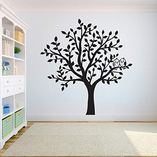 Pájaros en el árbol decoración del hogar árbol etiqueta de la pared dormitorio árbol de la vida raíz decoración del hogar papel tapiz etiqueta de la pared A2 57X59 CM
