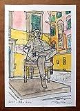Lucca,Statua di Giacomo Puccini- Original Druck, erstellt vom Künstler Davide Pacini - Größe cm 21x29,7 cm, Material, A4-Druckpapier, 80g / m² - Hergestellt in Italien, Toskana, Lucca.