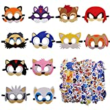12 Packs Sonic Felt Masks and 50 Stickers Party Favors for Kid -...