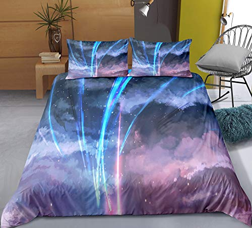 Three-piece Quilt Cover for Your Name Meteor, 3D Anime Quilt Pillowcase, 100% Polyester, Soft and Comfortable, Bedding for Otaku and Anime Fans, Best Birthday Gift ( Size : US-TWIN(172cm×218cm) )