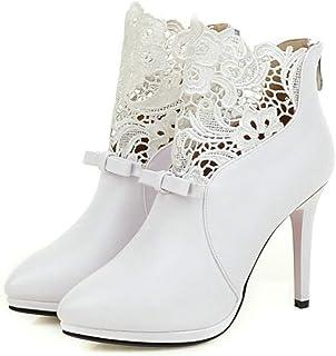 b3f47df4adbe68 Fanessy Femme Escarpins Noir Blanc au Cheville en Dentelle Grande Taille  avec Noeud Boots Aiguille Talon