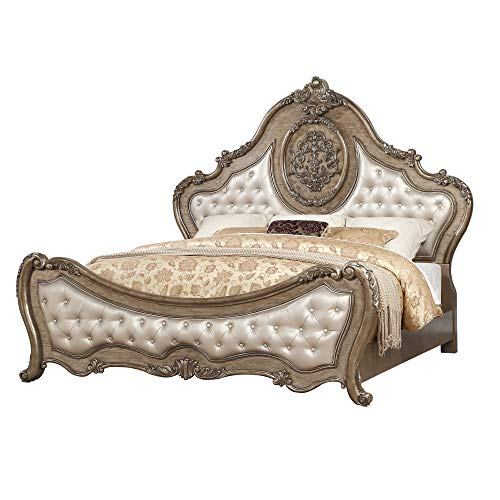 Best Bargain Benjara Leatherette Crown Top Traditional Eastern King Bed with Scrolled Feet, Gold
