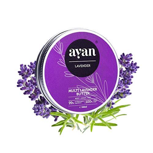 AYAN Naturkosmetik Pflege-Creme für trockene Haut 100 ml - reichhaltige Bodybutter mit Lavendel und Bio-Ölen, Natur Haut-Pflege Creme, rein natürlich, Kokos-öl Shea-butter, Macadamia-öl