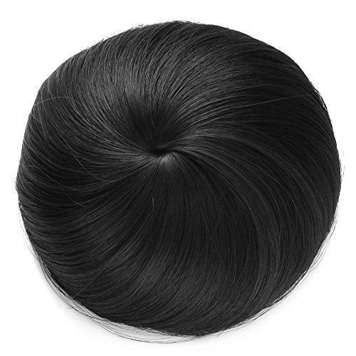 Onedor Synthetic Fiber Hair Extension Chignon Donut Bun Wig Hairpiece (1B - Off Black)