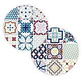 Bohoria®, sottopentola in ceramica, design premium, set di 2, decorativi per vasi, pentole, caraffe e bottiglie sul tavolo da pranzo in legno, vetro o pietra, rotondo, 18 cm Ceuta Tile
