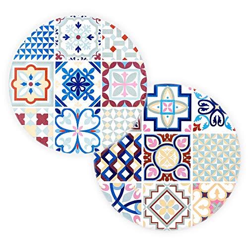 BOHORIA® Salvamanteles de cerámica de diseño premium, juego de 2 unidades, posavasos decorativo para jarrones, garrafas y botellas en su mesa de comedor de madera (redondo, 18 cm) (Ceuta Tile)
