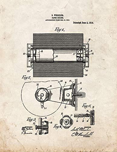 Frame a Patent Toilettenpapierhalter Patent Print Art Poster Old Look 8.5
